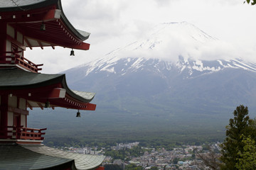 Fuji mountain viewed from behind Chureito Pagoda, Japan.