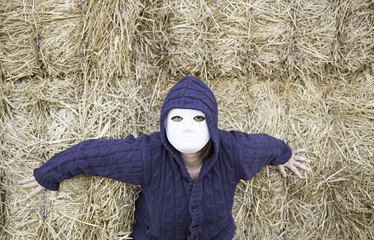 Masked woman outside