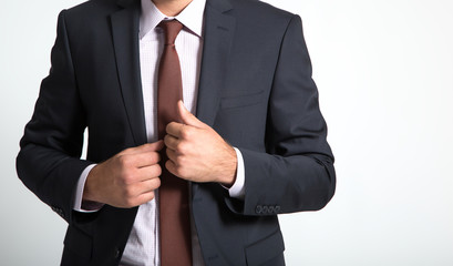Businessman wearing suit on white