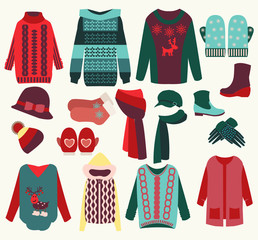 Winter clothes cozy collection