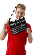 Holding a clapboard