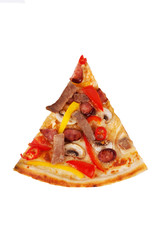 pizza with beef, hunting sausages, peppers, mushrooms, chili for