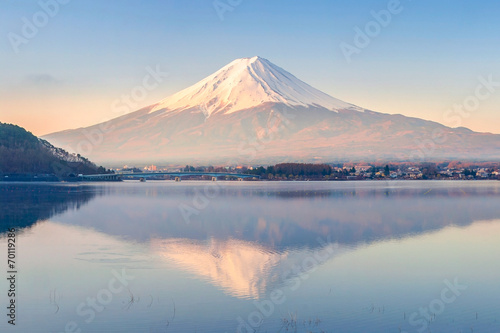 Aluminium Vulkaan Mt Fuji in the early morning