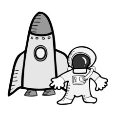 Astronaut and space ship