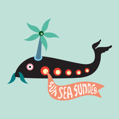Fish helicopter with sun sea summer banner.