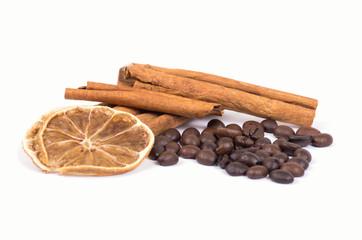 cinnamon, lemon and coffee beans