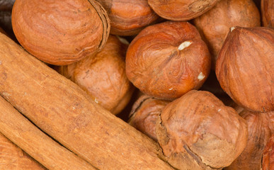 cinnamon and nuts background