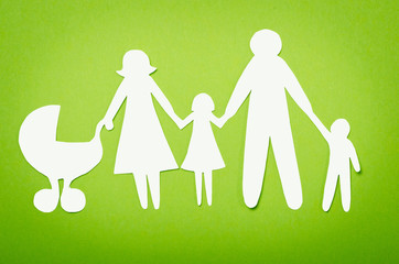 Closeup of paper family on white background