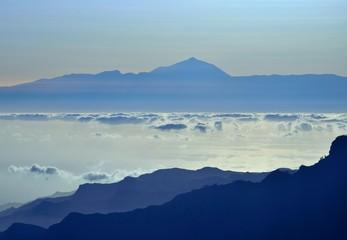 Tenerife with Teide peak at sundown, from Gran canaria island