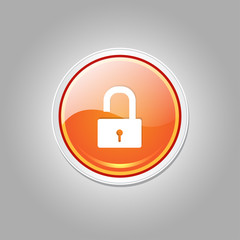 Unlock Circular Orange Vector Web Button Icon