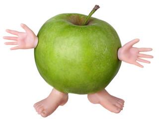 Funny green apple