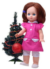Antique Doll decorating christmas tree