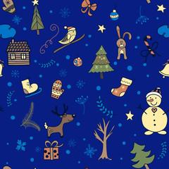 Cute winter seamless pattern