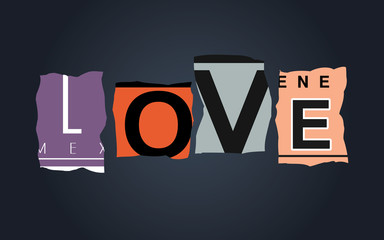 Love word on broken car license plates, vector