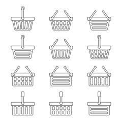 Set of twelve shopping baskets icons