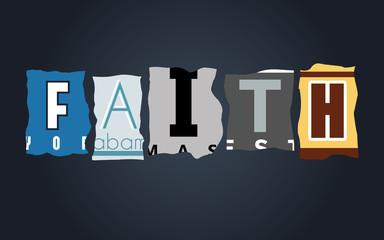 Faith word on broken car license plates, vector