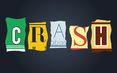 Crash word on broken car license plates, vector