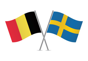 Belgian and Swedish flags. Vector illustration.