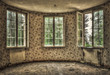 Dilapidated living room in an abandoned house