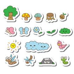 vector tree cartoon set