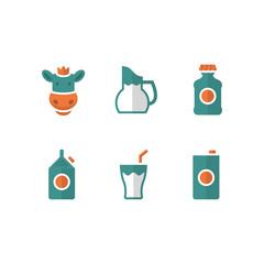 Set flat icons of milk