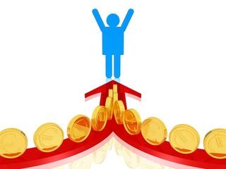 Her mit dem Geld - Gewinn - Erfolg