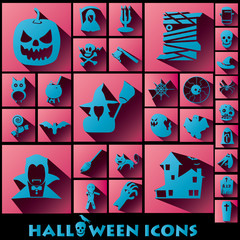 blue halloween icons shadow style