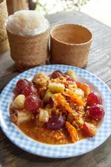 Fruit Salads thai and sticky rice
