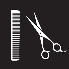 black sign of man hair salon with scissors and comb