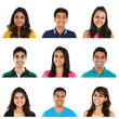 Collage of young Indian/Asian men and women portraits.