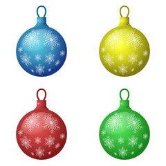 Christmas decorations icon set - color balls