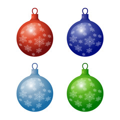 Christmas fir-tree decorations icon set