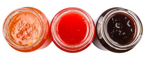 Blueberry, strawberry and orange fruit open lid bottled jam