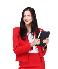Young business woman with book