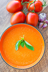 Bowl of tomato soup gaspacho