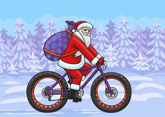Santa on a fatbike.