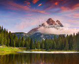 Lake Antorno and Tre Cime of Lavaredo south face in Italy Alps,