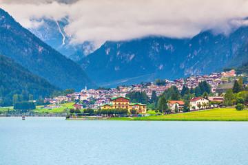 View Auronzo di Cadore and Lake of Auronzo, Italian Dolomites