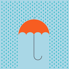 Vector modern umbrella with rain background.