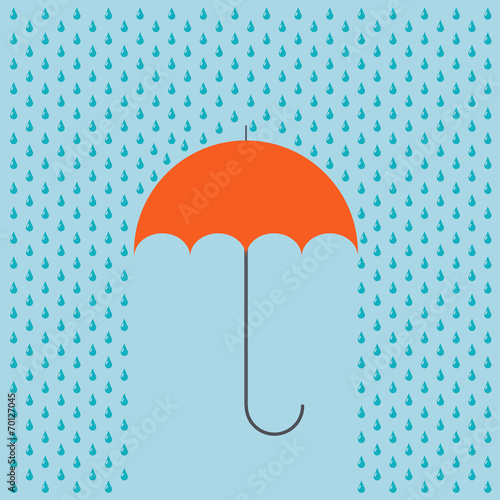 Vector modern umbrella with rain background. - 70127045