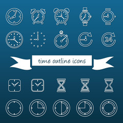 time outline icons