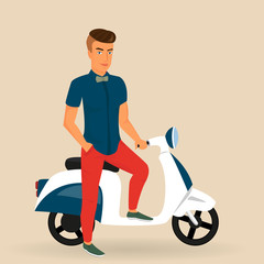 Hipster guy wearing stylish rides his motorbike