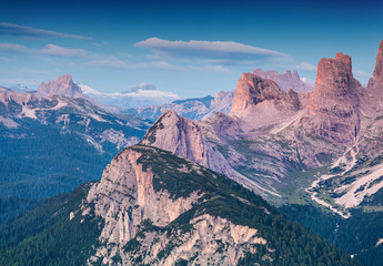 Colorful summer morning in the Italian Alps, Dolomites, Europe.