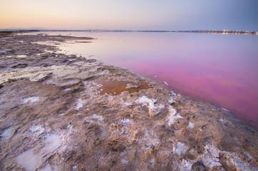 salt lake landscape, pink water color. Torrevieja, Spain