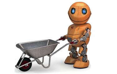 Orangefarbener Roboter mit Schubkarre  für Werbung