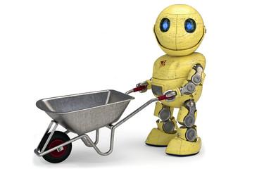 Gelber Roboter mit Schubkarre  für Werbung