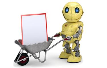 Gelber Roboter mit Schubkarre und Schild für Werbung