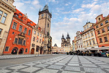 Prague, Czech Republic - view of square and astronomical clock