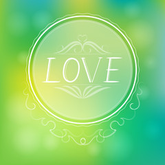 Abstract love green background. vector illustration.