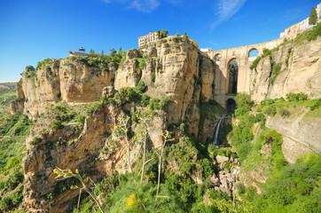 Ronda bridge and canyon, Ronda, Malaga, Andalusia, Spain.